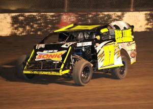 Darron Fuqua rolls to his 2nd win at Lakeside Speedway in 2014. Dan Parkinson Photo