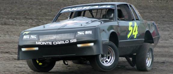3 wheelin action at Lakeside Speedway. Reed Bros. Racing Photos