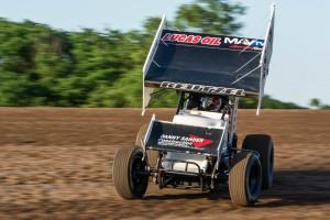 Aaron Reutzel works hot laps at Salina Speedway. Photos courtesy of Dusty Wiegert/Dirt Racing USA